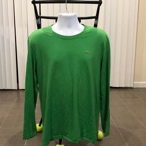 Lacoste long sleeve Cotton shirt green Large